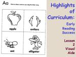 highlights of curriculum early reading success lesson 2 visual aide