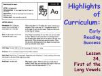 highlights of curriculum early reading success lesson 34 first of the long vowels