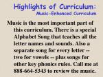 highlights of curriculum music enhanced curriculum