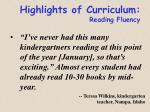 highlights of curriculum reading fluency
