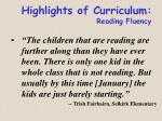 highlights of curriculum reading fluency80