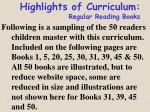 highlights of curriculum regular reading books