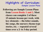 highlights of curriculum sample lesson plans