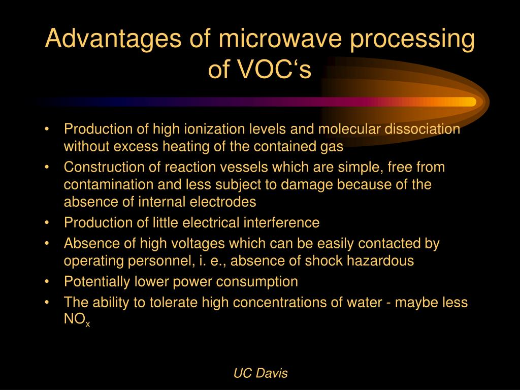 Advantages of microwave processing of VOC's