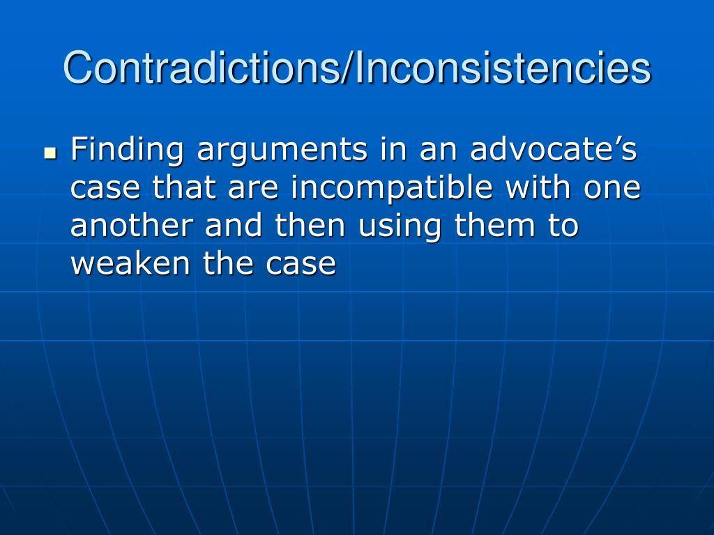 Contradictions/Inconsistencies