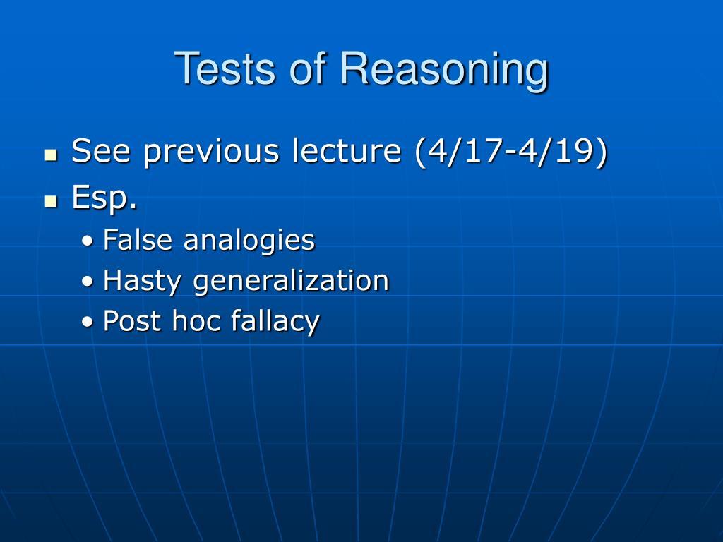 Tests of Reasoning