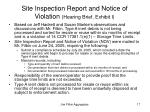 site inspection report and notice of violation hearing brief exhibit i