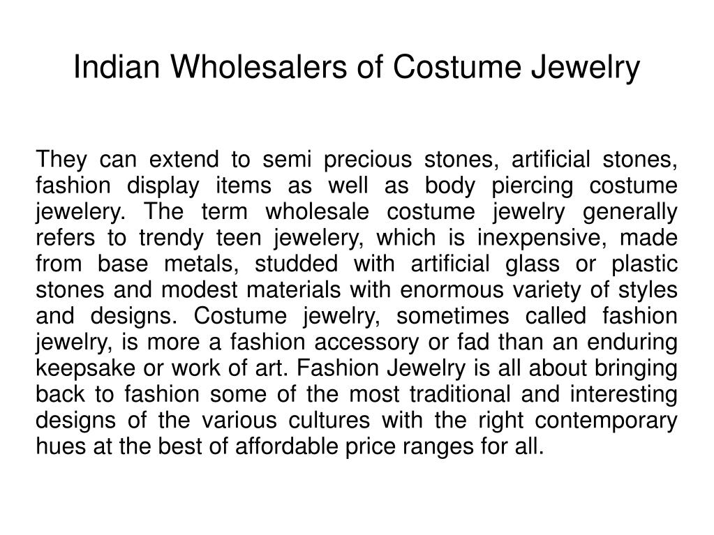 indian wholesalers of costume jewelry l.