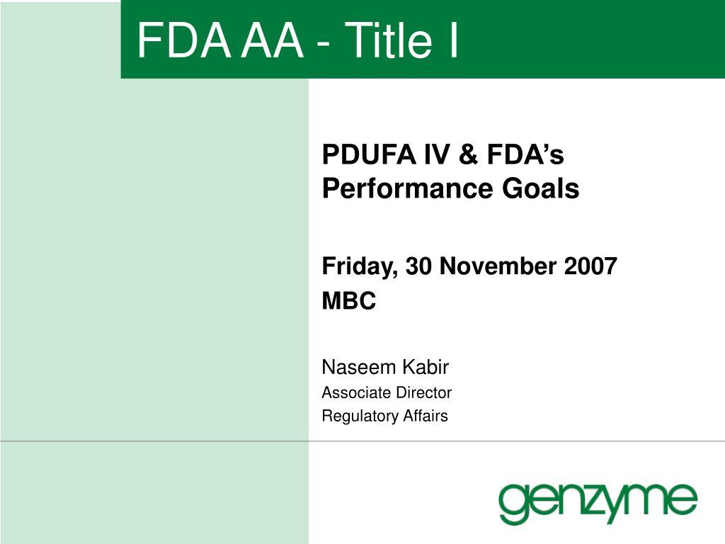 FDA AA - Title I