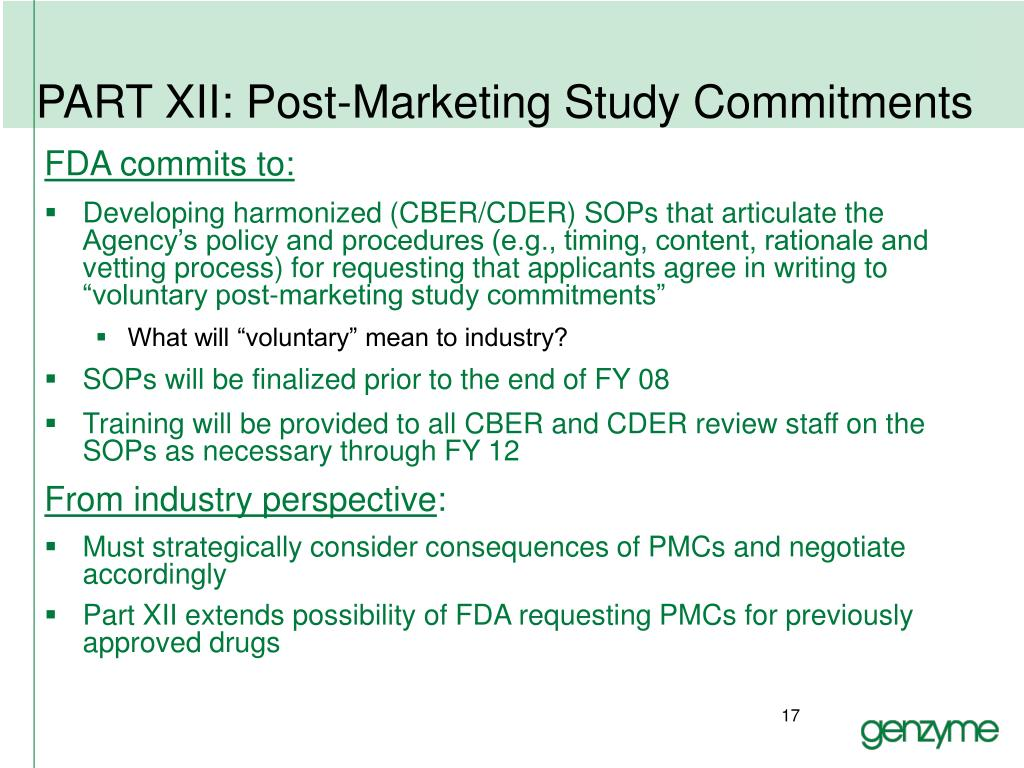 PART XII: Post-Marketing Study Commitments