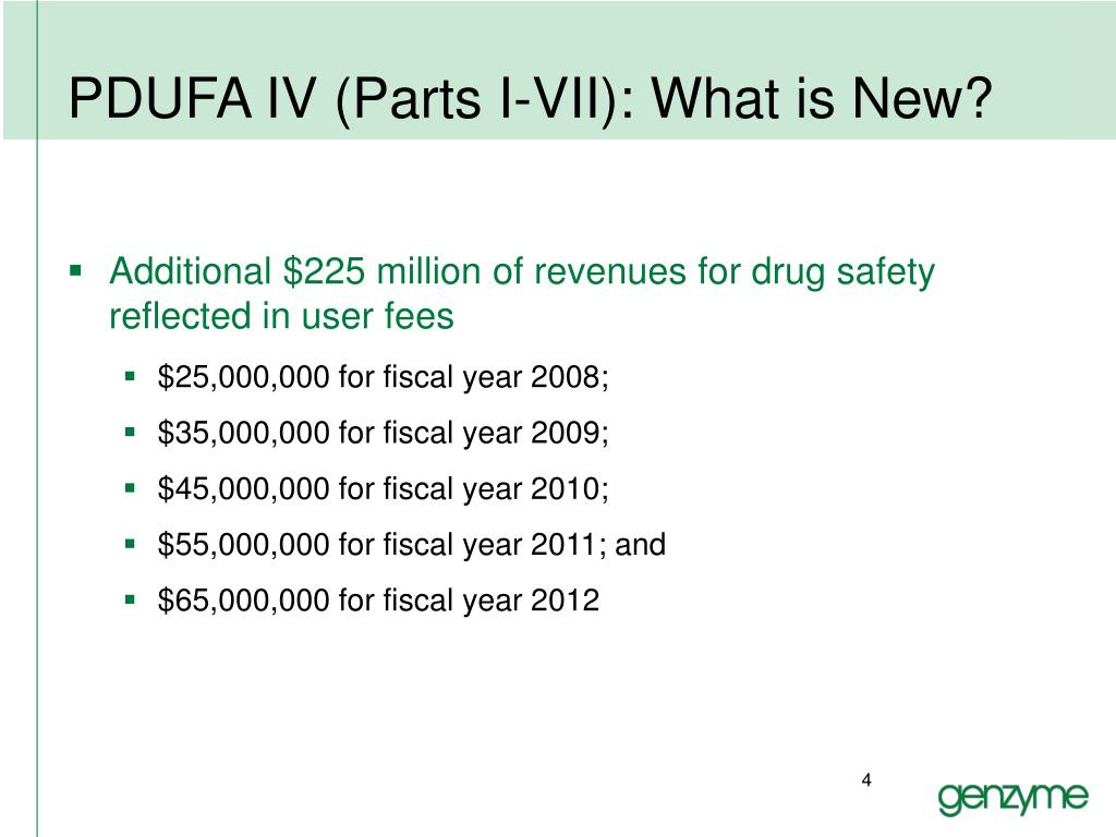 PDUFA IV (Parts I-VII): What is New?