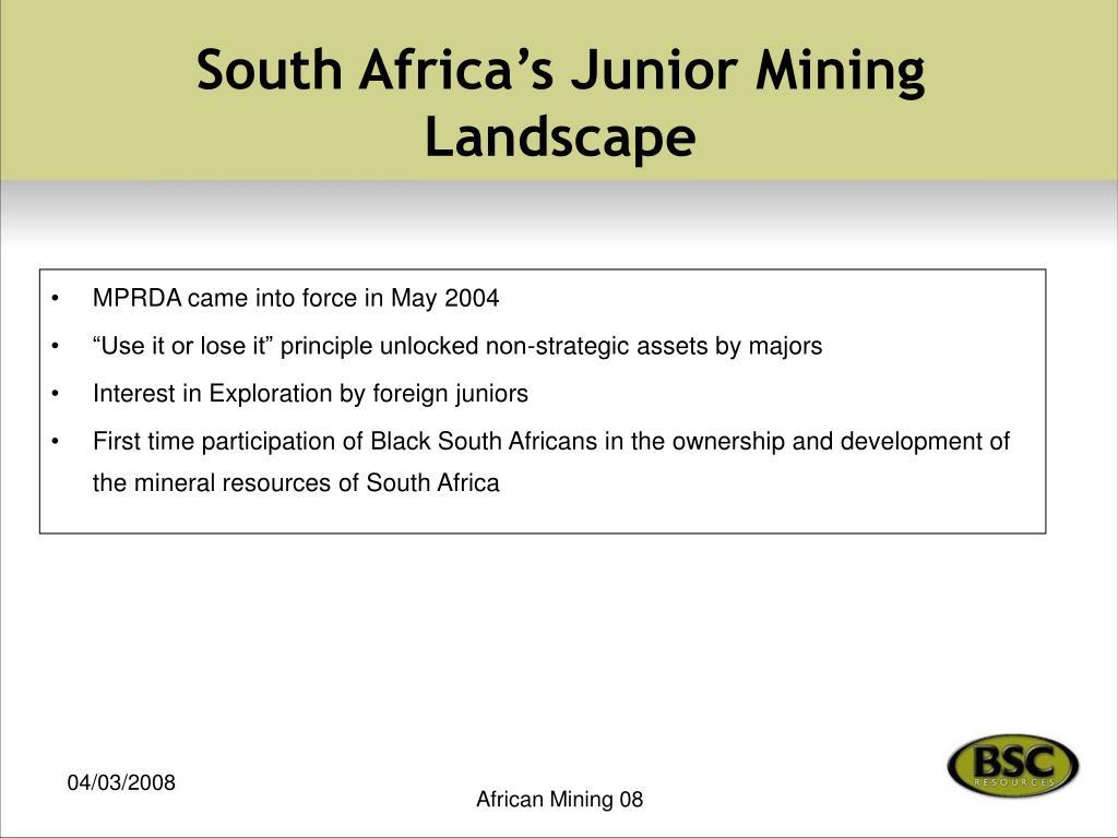 South Africa's Junior Mining Landscape