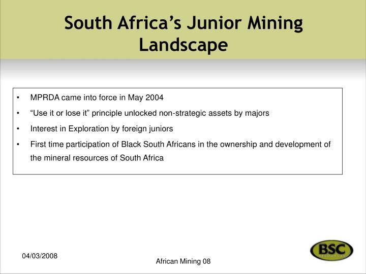 South africa s junior mining landscape