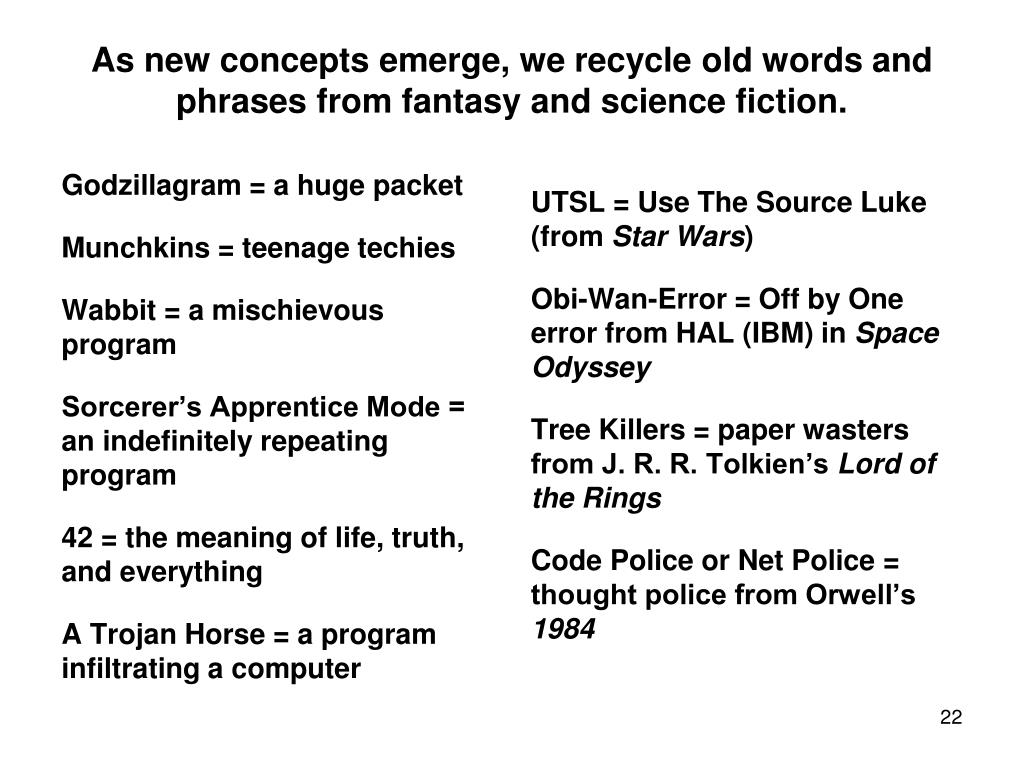 As new concepts emerge, we recycle old words and phrases from fantasy and science fiction.