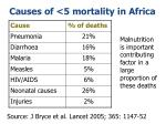 causes of 5 mortality in africa