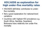 hiv aids as explanation for high under five mortality rates