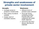 strengths and weaknesses of private sector involvement