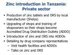 zinc introduction in tanzania private sector