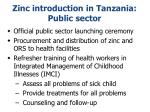 zinc introduction in tanzania public sector