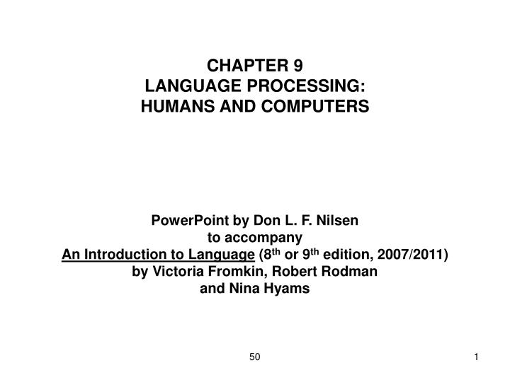 chapter 9 language processing humans and computers n.