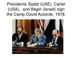 presidents sadat uae carter usa and begin israel sign the camp david accords 1978