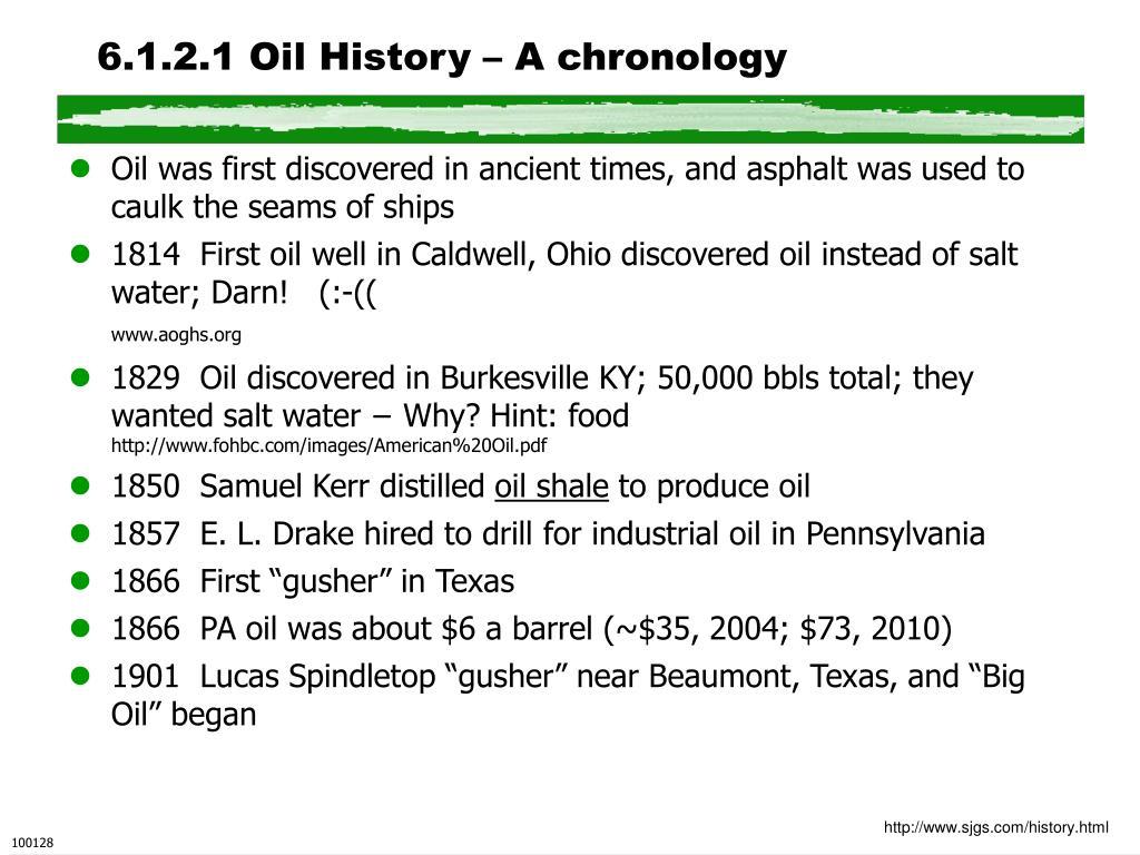 6.1.2.1 Oil History – A chronology