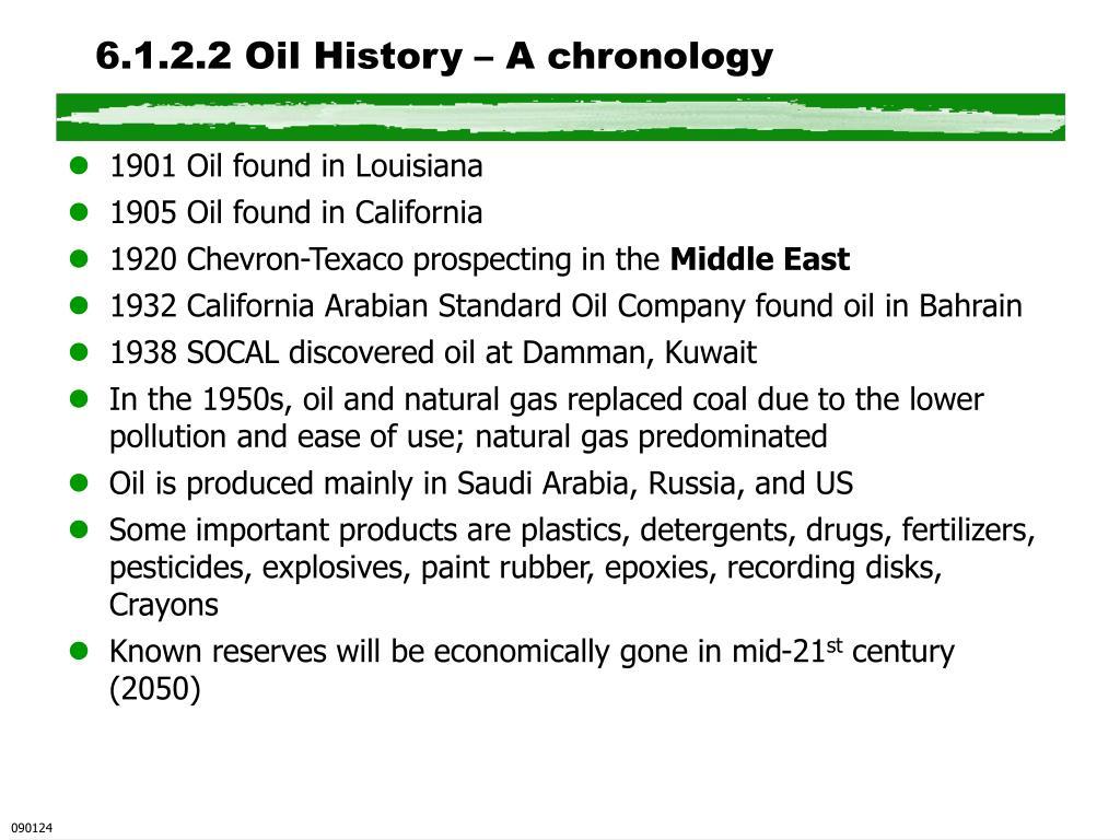 6.1.2.2 Oil History – A chronology