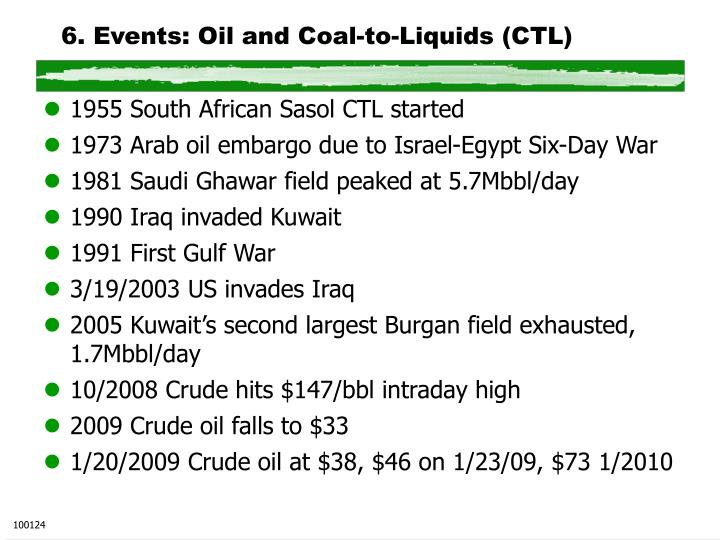 6 events oil and coal to liquids ctl