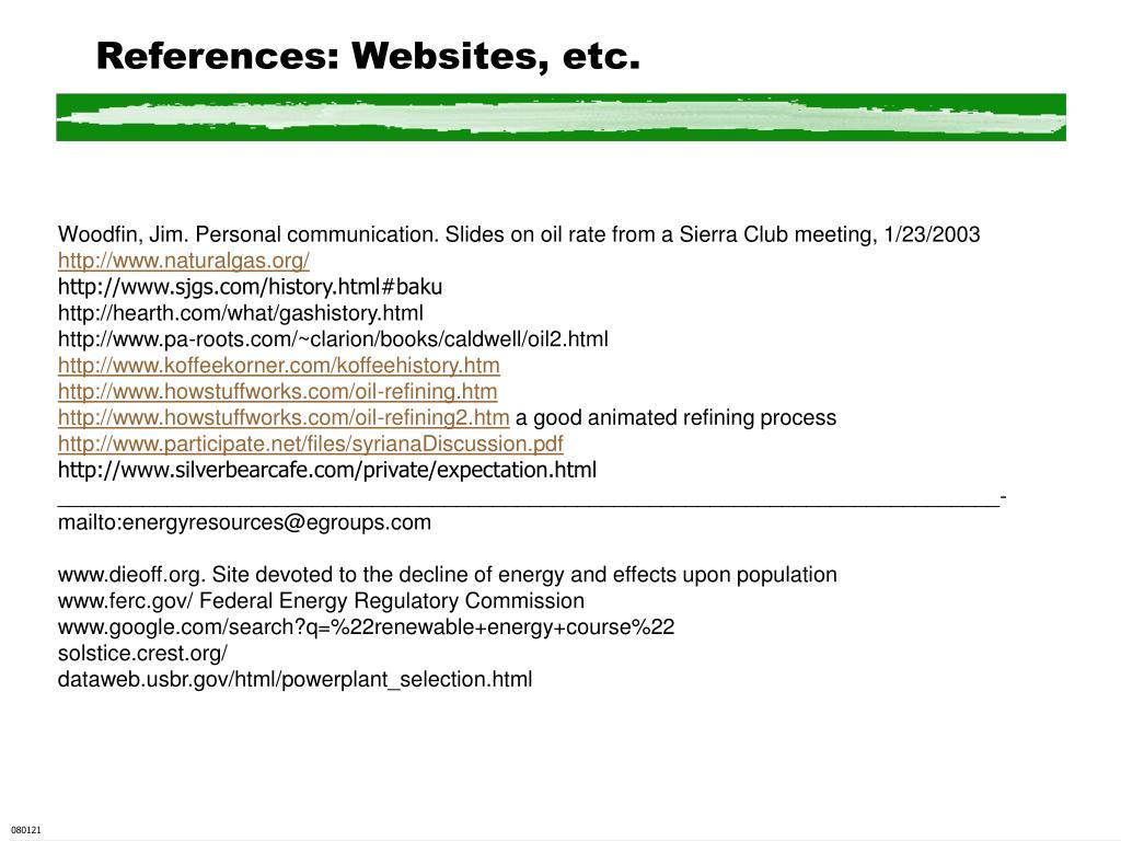 References: Websites, etc.