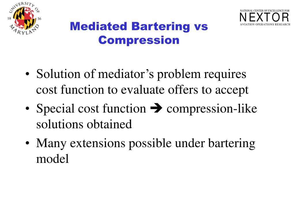 Mediated Bartering vs Compression