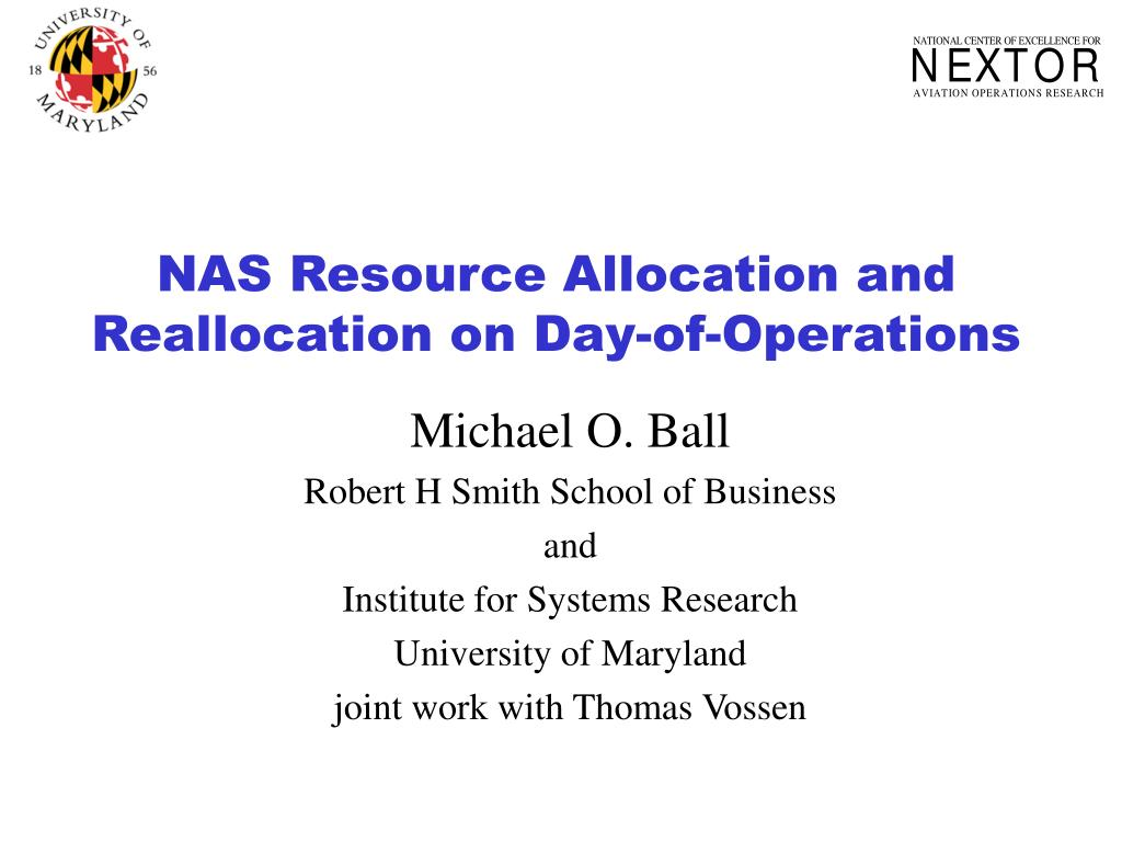 NAS Resource Allocation and Reallocation on Day-of-Operations