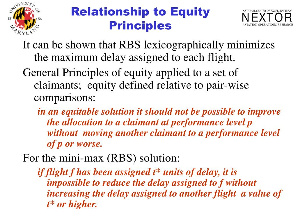 Relationship to Equity Principles