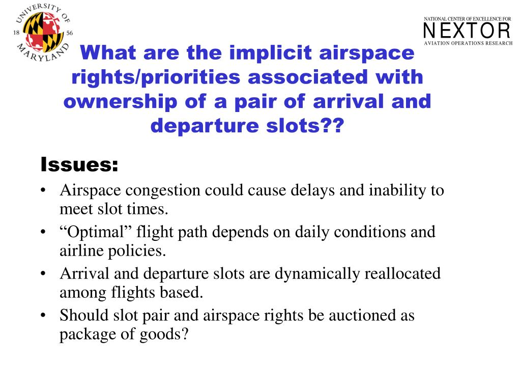 What are the implicit airspace rights/priorities associated with ownership of a pair of arrival and departure slots??