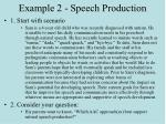 example 2 speech production