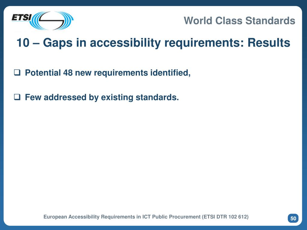 10 – Gaps in accessibility requirements: Results