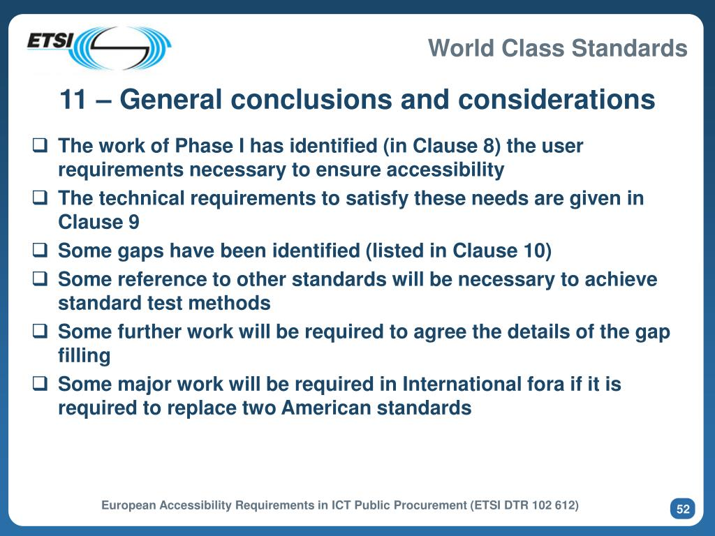 11 – General conclusions and considerations
