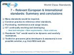 7 relevant european international standards summary and conclusions