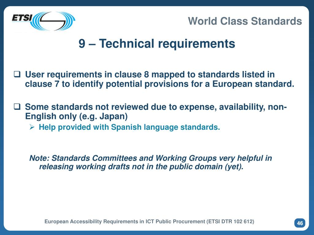 9 – Technical requirements