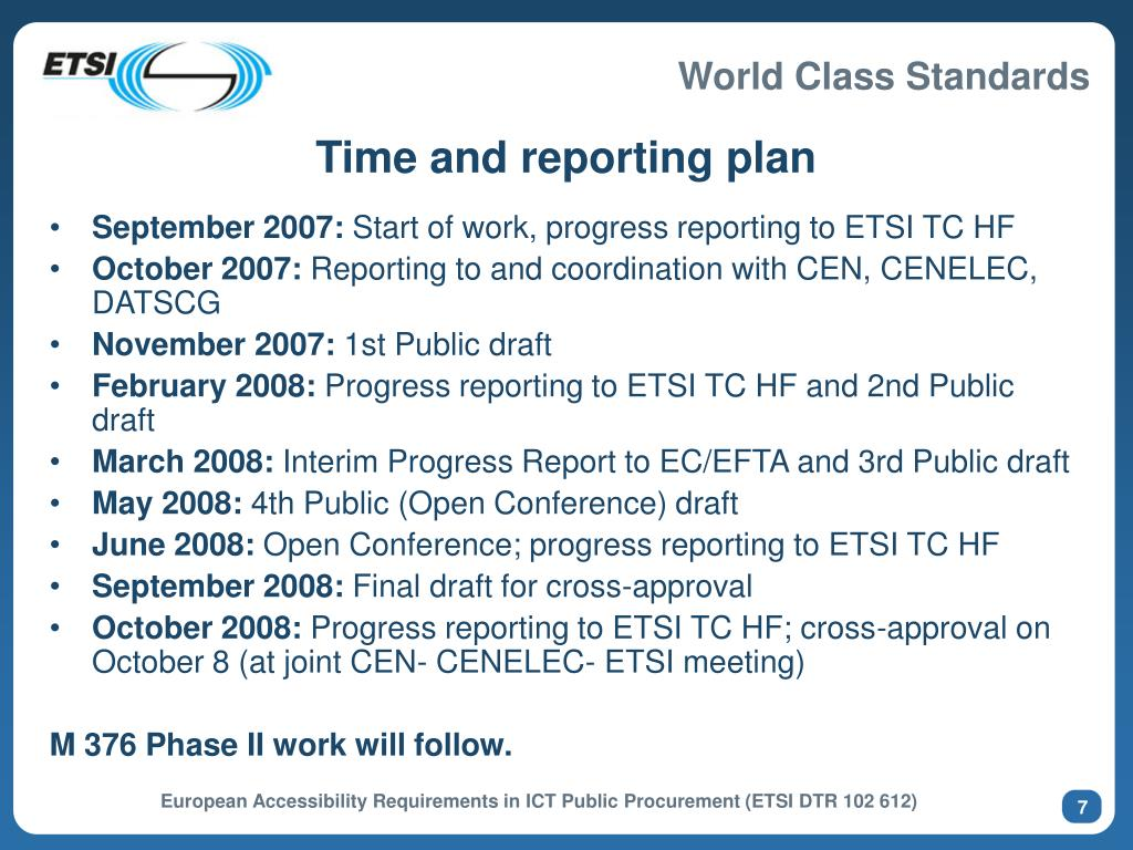Time and reporting plan