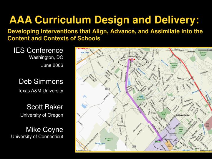 Aaa curriculum design and delivery