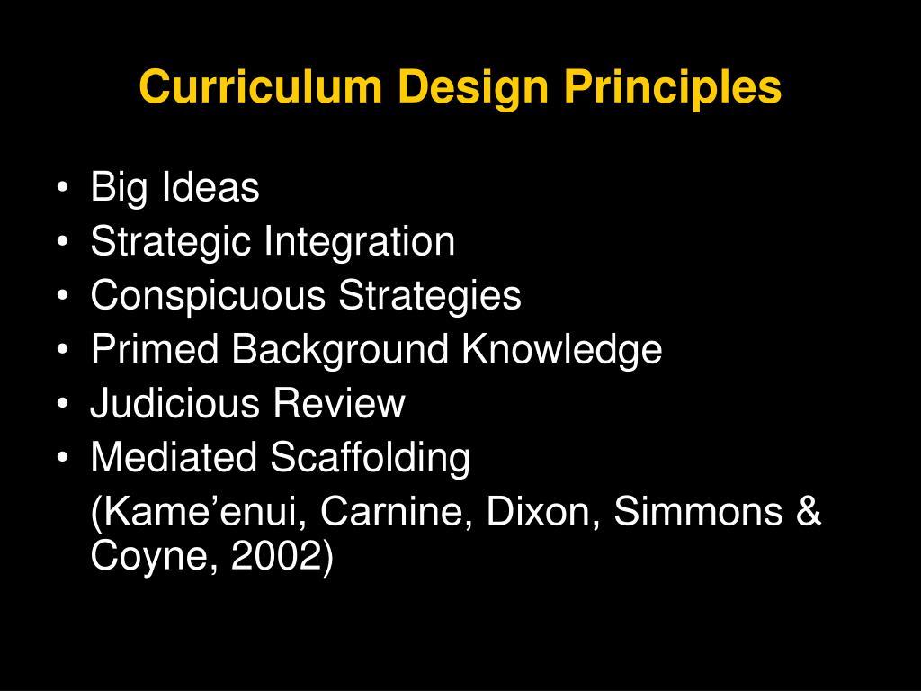 Curriculum Design Principles