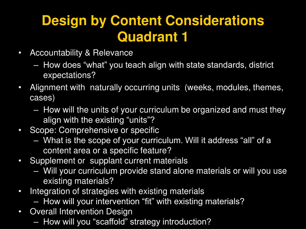 Design by Content Considerations
