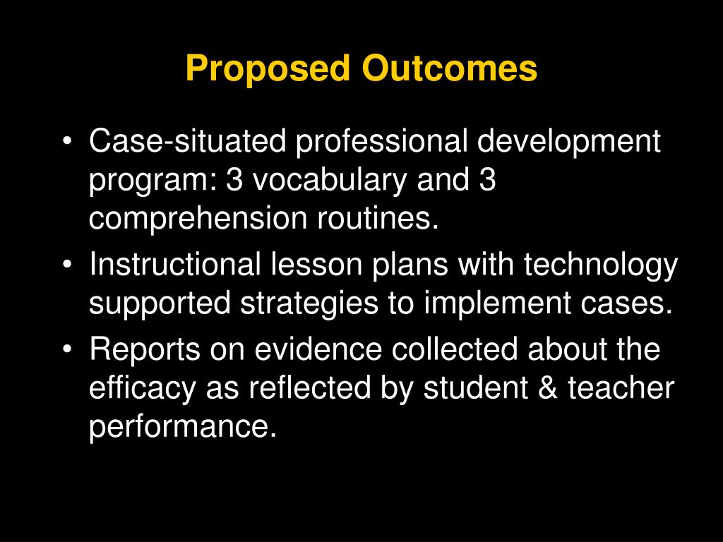 Proposed Outcomes