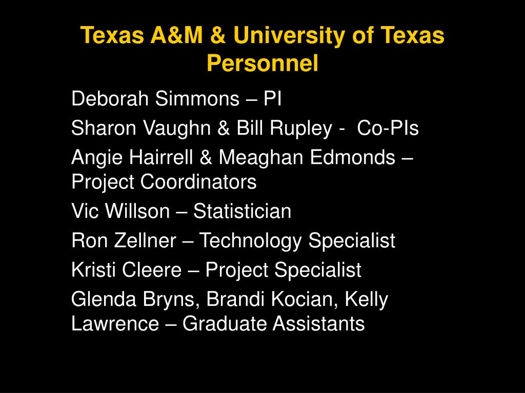 Texas A&M & University of Texas Personnel