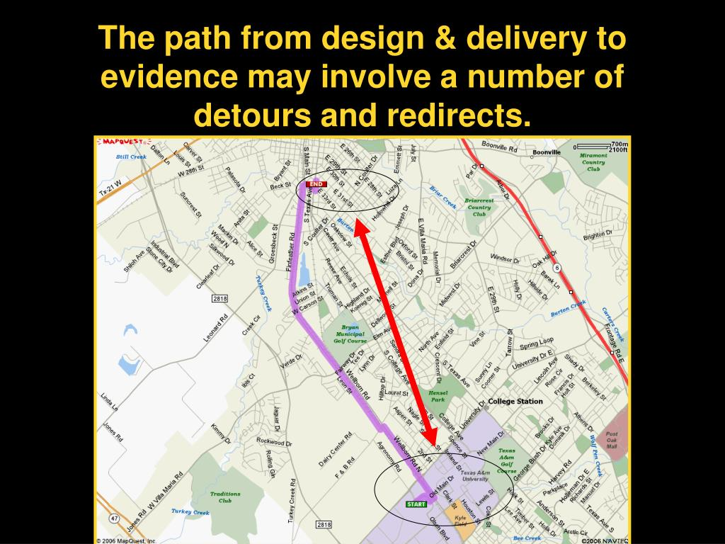 The path from design & delivery to evidence may involve a number of detours and redirects.