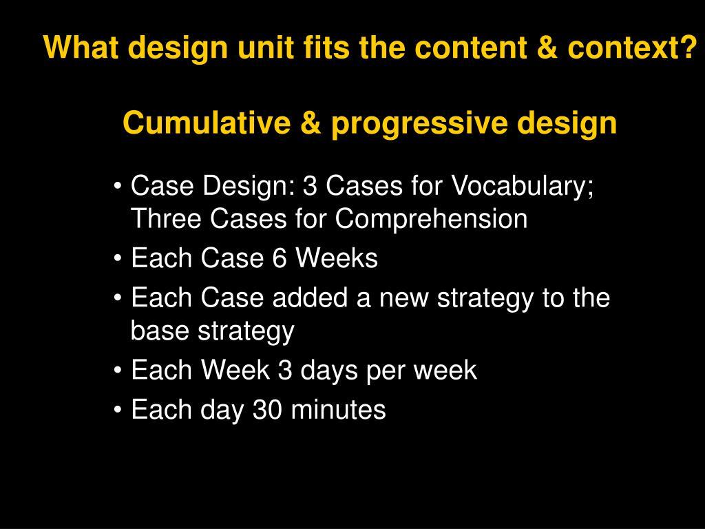 What design unit fits the content & context?