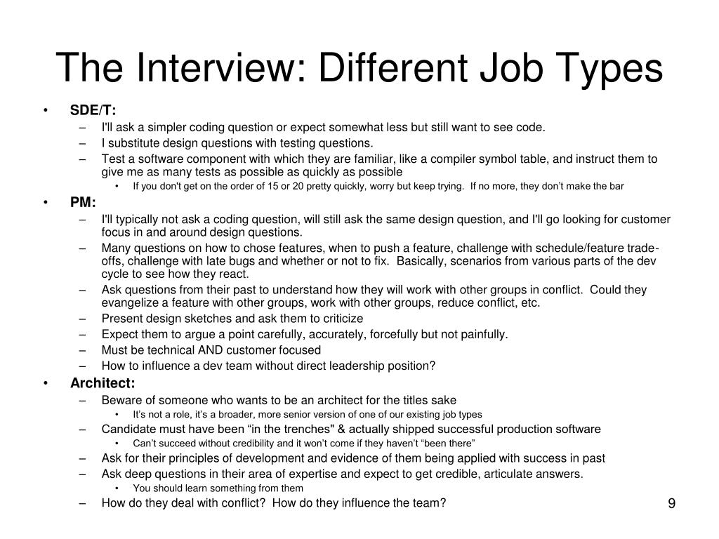 The Interview: Different Job Types