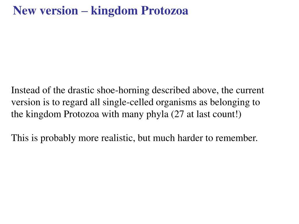 New version – kingdom Protozoa