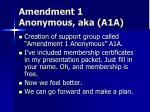 amendment 1 anonymous aka a1a