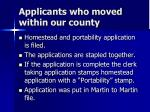 applicants who moved within our county